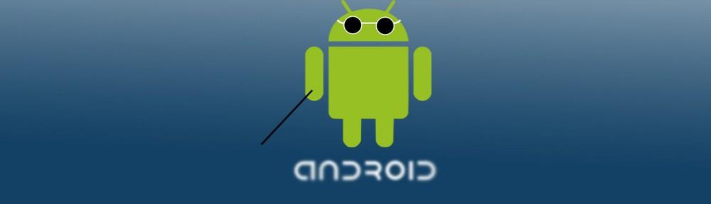 O robô do Android, com óculos escuro.